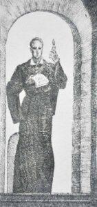 Рюрик Браїлов. Ілюстрація до роману І. Пільгука «Сковорода». 1972. Папір, офорт