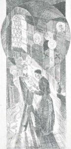Рюрик Браїлов. В келії. Ілюстрація до роману І. Пільгука «Сковорода». 1976. Папір, офорт