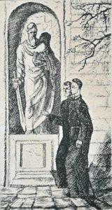 Рюрик Браїлов. З другом. Ілюстрація до роману І. Пільгука «Сковорода». 1976. Папір, офорт