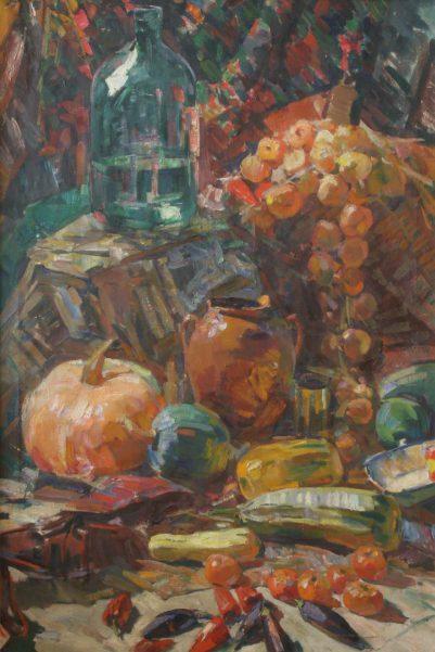 Олексій Шовкуненко. Натюрморт з цибулею та гарбузом. 1950. Полотно, олія